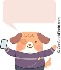 Dog Mobile Phone Speech Bubble Illustration