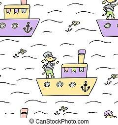 dog., modèle, bateau, seamless