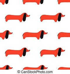 dog., modèle, seamless, vecteur, dachshund., dessin animé