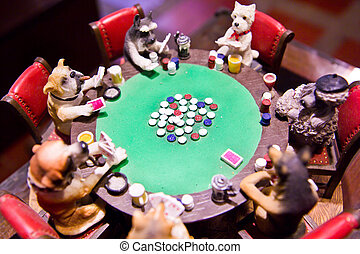 dog models around poker table