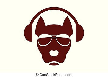 dog music logo icon concept abstract headphone