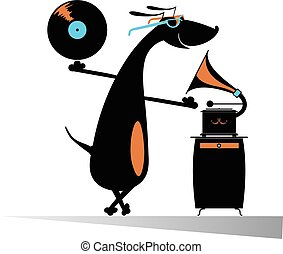 Dog music lover - Funny dachshund listening music on vintage...
