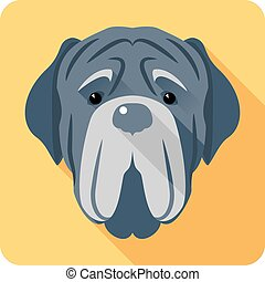 dog Neapolitan Mastiff icon head flat design