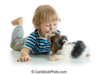 dog., niño, poco, aislado, fondo., niño, besar, blanco, perrito