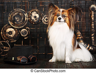 dog on a background in the style of steampunk
