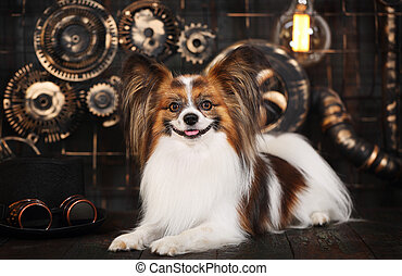 dog on a dark background in the style of steampunk