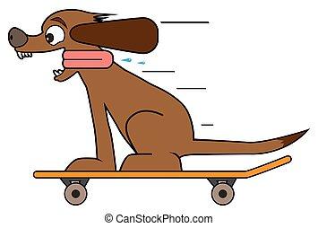 Dog on a Skateboard - A happy cartoon dog is riding a...