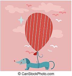 Dog on balloon flat color illustration