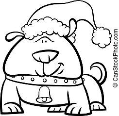 dog on Christmas coloring book