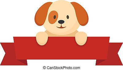 Dog on red banner icon, flat style