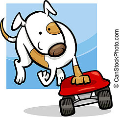 dog on skateboard cartoon illustration