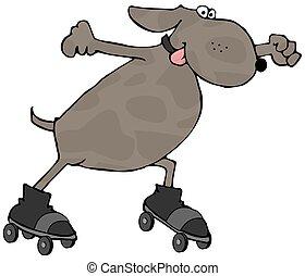 This illustration depicts a dog on roller skates.