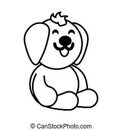 dog on white background, baby toys