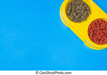 Dog or cat food on blue background top view