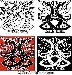 Dog or wolf celtic pattern