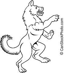 Dog or Wolf in Heraldic Rampant Coat of Arms Pose