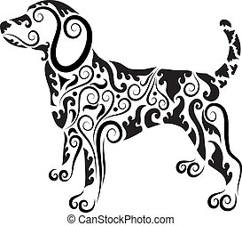 Dog ornament vector