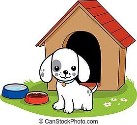 Dog outside doghouse