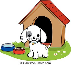 Dog outside doghouse - A dog standing outside his doghouse....