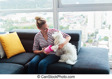 Dog Owner Cleaning Paws To Little Pet At Home