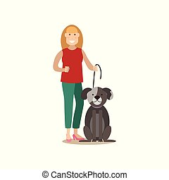 Dog owner female with her pet vector flat illustration