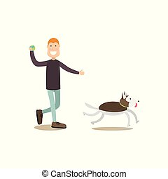 Dog owner male with his pet vector flat illustration