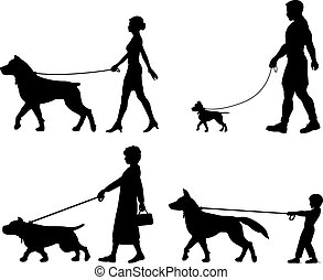 Dog owner variety - Editable vector silhouettes of ...