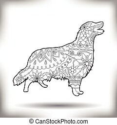 Dog painted silhouette isolated on white