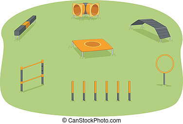 Dog Park Agility Test - Illustration of a Park Where Agility...