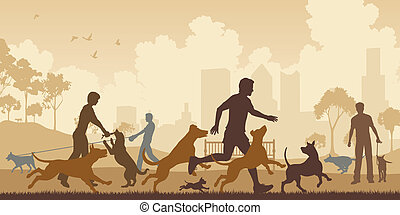 Dog park - Editable vector illustration of dogs and their...