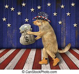 Dog patriot holds sack of money 2