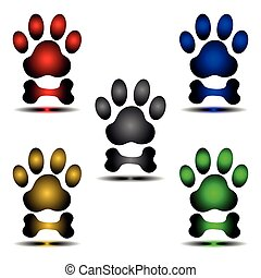 dog paw and bone vector