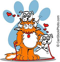 Dog Paw Cat Valentine Heart Cartoon