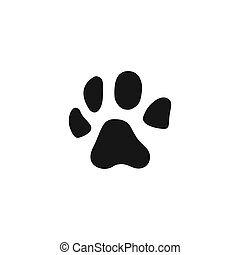Dog paw icon in flat design