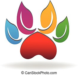 Dog paw logo eco colorful leafs