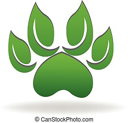 Dog paw logo green leafs ecology