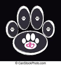 Dog paw on black background