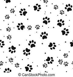 Dog paw print seamless pattern on white background eps10