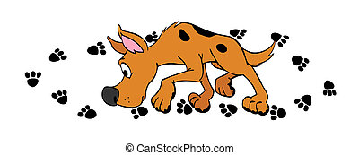 hand drawn cartoon dog sniffing his own paw prints