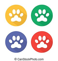 Dog paw sign icon. Pets symbol. Circle buttons with long shadow. 4 icons set. Vector