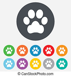 Dog paw sign icon. Pets symbol. Round colourful 11 buttons....