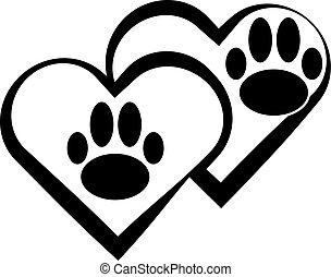Dog paw with heart isolated on white background.