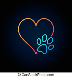 Dog paw with heart outline icon