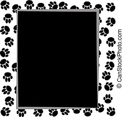 Dog paws border on white background.