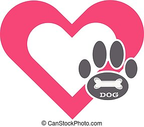 Dog paws  with bone and heart symbol.