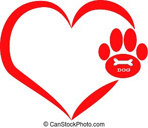 Dog paws with heart on white background