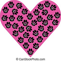 Dog paws with heart on white background. Vector illustration.