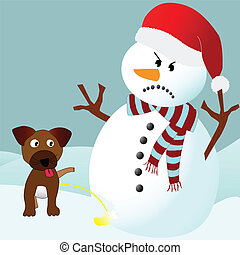 Dog peeing on an angry snowman - Cute puppy dog peeing on an...