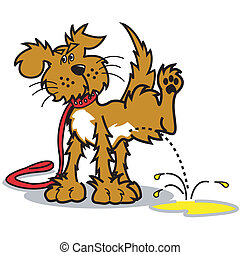 Dog Peeing Puddle Vector Clip Art