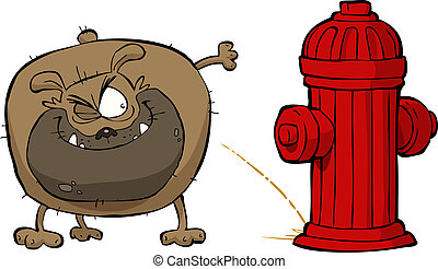 Dog pees - Cartoon dog pees on hydrant vector illustration